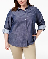 80534f5c42f11 Tommy Hilfiger Plus Size Cotton Chambray Roll-Sleeve Shirt