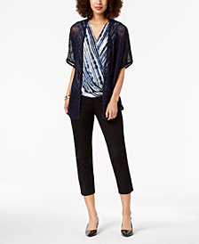 Alfani Wave-Stitch Cardigan, Printed Surplice Blouse & Slim-Leg Ankle Pants, Created for Macy's