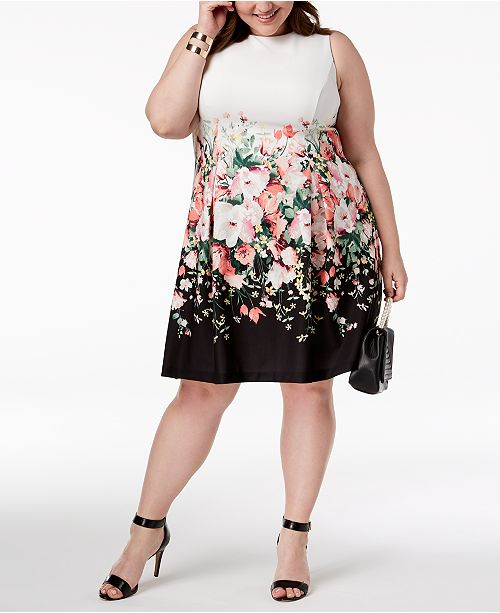 a4f239499e Jessica Howard Plus Size Floral Colorblocked Dress   Reviews ...