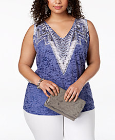 I.N.C. Plus Size Burnout-Print Studded Tank, Created for Macy's