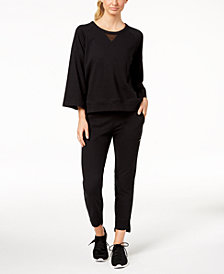 Calvin Klein Performance 3/4-Sleeve Cropped Top & Joggers