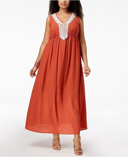 ec7fb4ae102 NY Collection Plus   Petite Plus Size Crochet-Trim Crinkle Maxi Dress