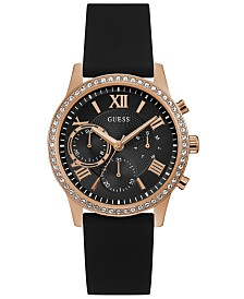 GUESS Women's Black Silicone Strap Watch 40mm