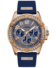 GUESS Men's Blue Silicone Strap Watch 48mm