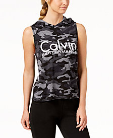 Calvin Klein Performance Printed Sleeveless Cropped Hoodie