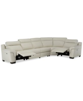Julius II 5-Pc. Leather Sectional Sofa With 2 Power Recliners, Power Headrests & USB Power Outlet, Created for Macy's
