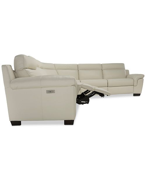 Midori 6 Pc Leather Power Reclining Sectional Sofa: Furniture Julius II 6-Pc. Leather Sectional Sofa With 3