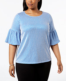 Calvin Klein Plus Size Striped Seersucker Ruffle-Sleeve Top
