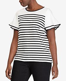 Lauren Ralph Lauren Plus Size Striped Flutter-Sleeve Top