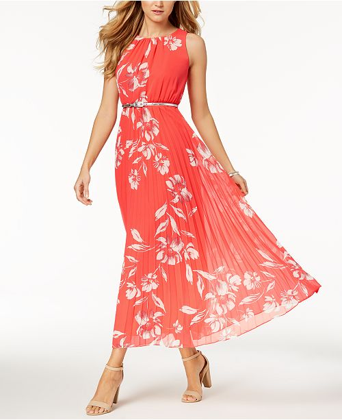 Petite Belted Dress Jessica Coral Printed Maxi Howard 5zTwz0q1O