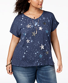 Style & Co Plus Size Sequined Graphic-Print T-Shirt, Created for Macy's