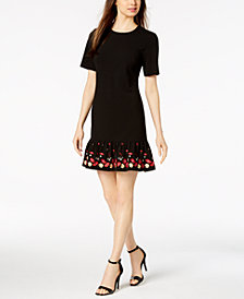 Calvin Klein Embroidered Flounce Dress, Regular & Petite Sizes