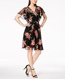 Calvin Klein Belted Embroidered-Lace Dress