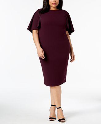 Calvin Klein Plus Size Capelet Sheath Dress Dresses Women Macy S