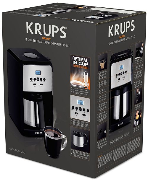 Krups Et351050 12 Cup Savoy Programmable Thermal Coffee Maker Tea Espresso Kitchen Macy S