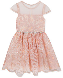 Rare Editions Little Girls Soutache Sequin Illusion Neck Dress