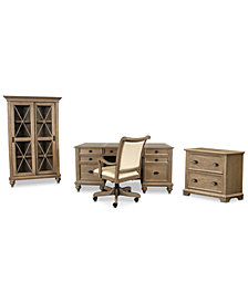 Brompton Home Office, 4-Pc. Furniture Set (Executive Desk, Upholstered Desk Chair, File Cabinet, & Bookcase)