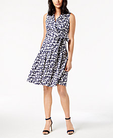 Anne Klein Notch Collar Faux Wrap Dress