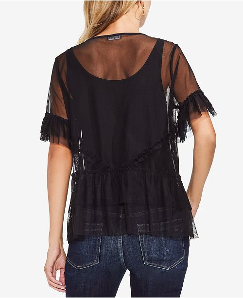 Camuto Vince Top Ruffle Rich Mesh Black Tiered 6P0HS