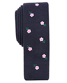 Bar III Men's Embroidered Floral Skinny Tie, Created for Macy's
