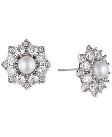 Marchesa Silver-Tone Crystal & Imitation Pearl Cluster Stud Earrings, Created for Macy's