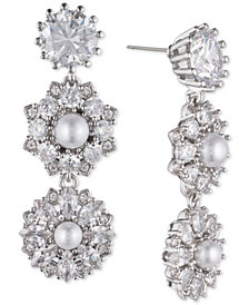 Marchesa Silver-Tone Crystal & Imitation Pearl Linear Drop Earrings, Created for Macy's