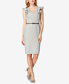 Tahari ASL Plaid Flutter-Sleeve Sheath Dress