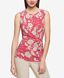 Tommy Hilfiger Printed Tie-Waist Shell