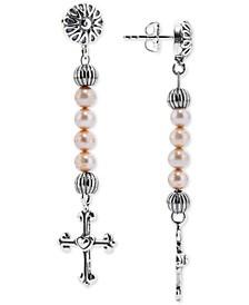Dyed Freshwater Pearl (4mm) Cross Drop Earrings in Sterling Silver