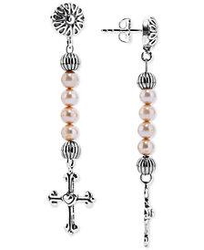 American West Dyed Freshwater Pearl (4mm) Cross Drop Earrings in Sterling Silver