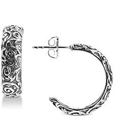 Filigree Half Hoop Earrings in Sterling Silver