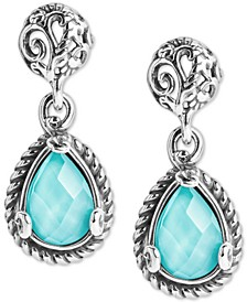 Turquoise/Rock Crystal Doublet Teardrop Filigree Drop Earrings