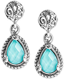 Carolyn Pollack Turquoise/Rock Crystal Doublet Teardrop Filigree Drop Earrings