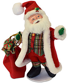 Annalee Plaid Tidings Santa Figurine