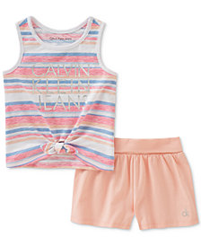 Calvin Klein Little Girls 2-Pc. Tie-Front Tank Top & Shorts Set