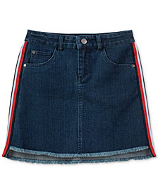 Tommy Hilfiger Big Girls Side Stripe Frayed Hem Denim Skirt