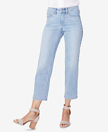 NYDJ Jenna Embroidered Straight-Leg Ankle Jeans