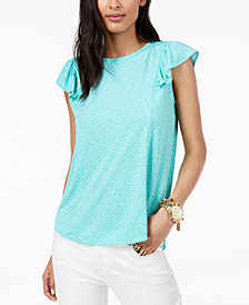 MICHAEL Michael Kors Printed Ruffled-Sleeve Top, Regular & Petite