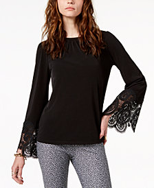 MICHAEL Michael Kors Lace-Trim Top, in Regular & Petite Sizes