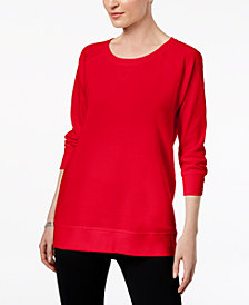 Karen Scott 3/4-Sleeve Sweatshirt, Created for Macy's