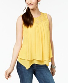 Style & Co Petite Layered-Hem Lace-Trim Top, Created for Macy's