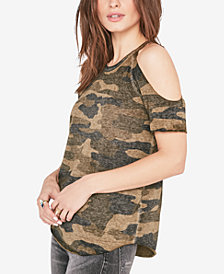 Lucky Brand Camo-Print Cold-Shoulder T-Shirt
