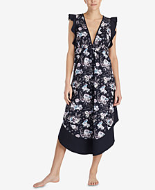 Betsey Johnson Printed Ruffle-Sleeve Maxi Nightgown