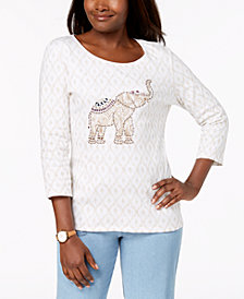 Karen Scott Cotton Embellished-Elephant Top, Created for Macy's