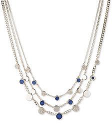"DKNY Silver-Tone Stone & Pavé Triple Layer Statement Necklace, 16"" + 3"" extender"