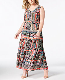 NY Collection Plus & Petite Plus Size Printed Boho Maxi Dress