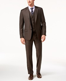 Lauren Ralph Lauren Men's Classic-Fit Ultraflex Stretch Brown Solid Vested Suit
