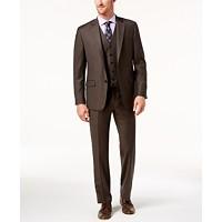 Lauren Ralph Lauren Men's Classic-Fit Brown Solid Vested Suit