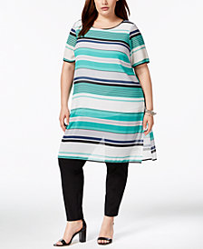 Alfani Plus Size Striped Tunic, Created for Macy's