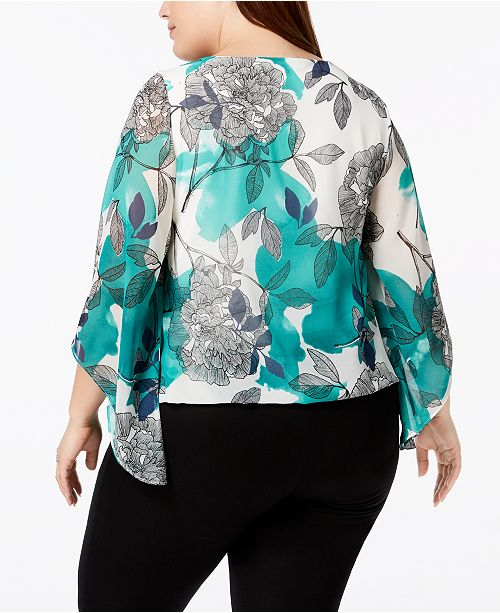 Plus Printed Macy's for Alfani Plus Sleeve Size Created Size Garden Green Kimono Top q1nRZO